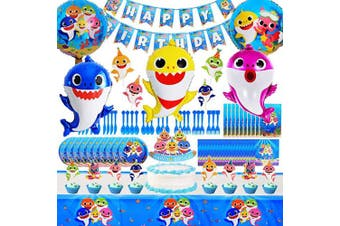 Shark Party Supplies for Baby,104 Pcs Shark Theme Birthday Party decorations for Kids - Including Balloons, Table Cloth, Banner, Knives, Forks,Spoons,Cake Toppers,Gift Bags.Serves 10 Guest