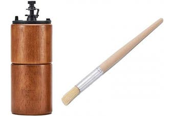 (Brown Wood) - Cafefuji Manual Coffee Bean Grinder Wooden Mill with Coffee Grinder Cleaning Brush, Large Capacity Hand Crank, Stainless Steel Burr Mill Portable Travel Camping Adjustable (Brown Wood)