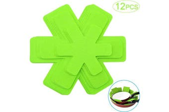 (18cm  & 28cm  & 36cm - Green) - Cookware Dividing Protector, Pots and Pans Dividers Pad, Stacking Pan Protector, Pan Separators Pads to Prevent Scratching (12 Pcs, 3 Different Size, Green)