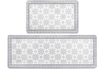 (43cm  x 120cm +43cm  x 70cm , Floral) - HEBE Anti Fatigue Kitchen Rug Set 2 Piece Non Slip Cushioned Kitchen Floor Mat Waterproof Comfort Standing Kitchen Mat (43cm x 70cm +43cm x 120cm )