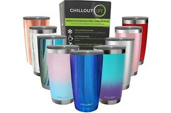 (590ml, Magic Blue) - CHILLOUT LIFE 590ml Stainless Steel Tumbler with Lid - Double Wall Vacuum Insulated Large Travel Coffee Mug with Splash Proof Lid for Hot & Cold Drinks