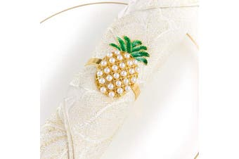 (Pineapple) - Alphatool Set of 6 Golden Pineapple Napkin Rings- Golden Pineapple Shaped Napkin Holder Rings Full of Pearls for Summer Holiday Hawaiian Theme Party Banquet Dinning Table Settings Decoration Gift