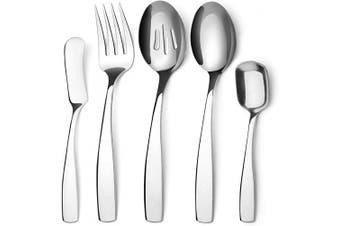 (Serving Set, Silver Serving Set) - Bysta Serving Utensils Set, Silver 5-Piece Hostess Set, Stainless Steel Silverware Flatware Cutlery Serving Set, Mirror Finish, Dishwasher Safe