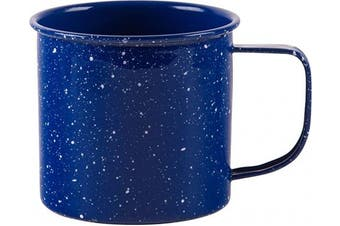 (Blue Speckled) - Large Light Weight Camping Coffee Mug - Tin Cup Enamel Coated - Holds 710ml (Blue Speckled)