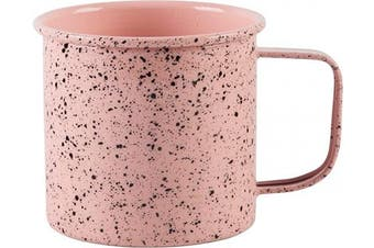 (Blush Speckled) - Large Light Weight Camping Coffee Mug - Tin Cup Enamel Coated - Holds 710ml (Blush Speckled)