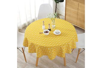 (Yellow) - Table Cloth, Modern Nordic Style Round Floral Printing Dining Table Cloth, Suitable for Home Holiday Party Patio Gardens Kitchen Dining Room (Yellow)