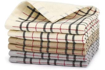 (Brown & Grey & White) - Beasea Kitchen Dish Cloths Set of 6, 100% Cotton Plaid Kitchen Towels 33cm x 33cm Soft Comfort Tea Towel Highly Absorbent Cleaning Cloths for Household Cooking Cleaning - Mixed Colour