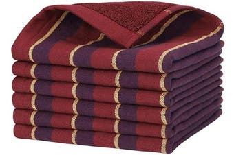 (Red) - Beasea Cotton Cleaning Towels, 6pcs Kitchen Towels 33cm x 33cm Dish Towels Cleaning Cloths Soft Cleaning Towel Highly Absorbent Dish Cloths for Household with Hanging Loop - Red