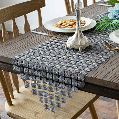 """Valea Home Table Runners 12/""""x72/"""" Sparkle Silver Clover Table Runner Dining  Grey"""