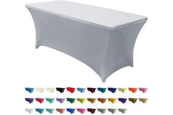 ABCCANOPY Spandex Tablecloths for 1.2m Home Rectangular Table Fitted Stretch Table Cover Polyester Tablecover Lash Bed Cover Table Toppers Massage Table Cover, Grey