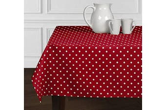 (150cm  X 260cm ) - A LuxeHome Red and White Modern Contemporary Polka Dot Tablecloths Dining Room Kitchen Rectangle Oblong 150cm x 260cm