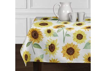 (150cm  X 260cm ) - A LuxeHome Yellow, Green and White Sunflower Boho Floral Watercolour Farmhouse Flower Tablecloths Dining Room Kitchen Rectangle Oblong 150cm x 260cm