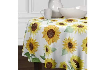 (230cm  Round) - A LuxeHome Yellow Green and White Sunflower Boho Floral Flower Watercolour Farmhouse Cover Tabletop Tablecloth Dining Room Kitchen Round 230cm