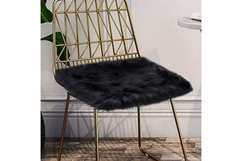 (Pink) - LOCHAS Luxury Super Soft Fluffy Shaggy Seat Cushion Faux Sheepskin Rug for Floor Sofa Chair,Chair Cover Seat Pad Couch Pad Area Carpet, 0.5m x 0.5m,Black