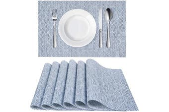 (6, Apatternblue) - Homaxy Placemats for Dining Table Set of 6 - Washable Vinyl Woven Insulation Heat Resistant Kitchen Table Mats, 46cm x 30cm , Pattern Blue