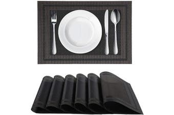 (6, Black) - Homaxy Placemats for Dining Table Set of 6 - Washable Vinyl Woven Insulation Heat Resistant Kitchen Table Mats, 46cm x 30cm , Black