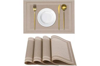 (4, Khaki) - Homaxy Placemats for Dining Table Set of 4 - Washable Vinyl Woven Insulation Heat Resistant Kitchen Table Mats, 46cm x 30cm , Khaki