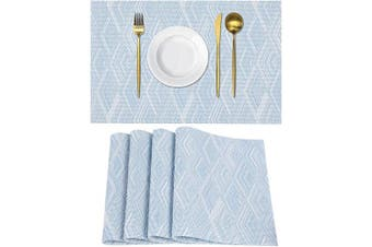 (4, Rhombusblue) - Homaxy Placemats for Dining Table Set of 4 - Washable Vinyl Woven Insulation Heat Resistant Kitchen Table Mats, 46cm x 30cm , Rhombus Blue