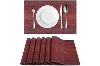 (6, Gradientred) - Homaxy Placemats for Dining Table Set of 6 - Washable Vinyl Woven Insulation Heat Resistant Kitchen Table Mats, 46cm x 30cm , Gradient Red