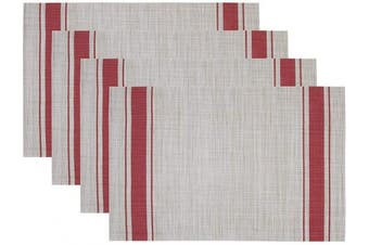 STARUBY Placemats Set of 4 Red Vertical Stripes Crossweave Woven Waterproof Table Placemat Washable Heat Resistant Table Mats for Home Restaurant Kitchen Dining Table,30cm x 45cm