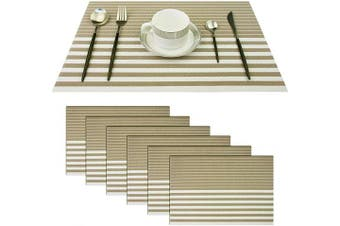 (Set of 6, Stripe: Beige) - pigchcy Beige and White Placemats Set of 6 Vinyl Woven Heat-Resistant Placemat Washable Easy to Clean Table Mats for Dining Room (46cm x 30cm )
