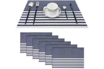 (Set of 6, Stripe: Navy Blue) - pigchcy Navy Blue and White Placemats Set of 6 Vinyl Woven Heat-Resistant Placemat Washable Easy to Clean Table Mats for Dining Room (46cm x 30cm )