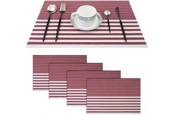 (Set of 4, Stripe: Red) - pigchcy Red and White Placemats Set of 4 Vinyl Woven Heat-Resistant Placemat Washable Easy to Clean Table Mats for Dining Room (46cm x 30cm )
