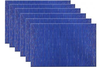 (Set of 6, B: Blue) - pigchcy Placemats Modern Design Kitchen Placemat Washable Heat-Insulation Table Mat PVC Placemats for Dining Table Set of 6 (Mix Deep Blue)
