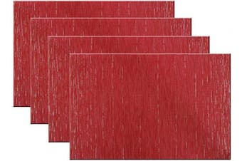 (Set of 4, B: Red) - pigchcy Placemats Modern Design Kitchen Placemat Washable Heat-Insulation Table Mat PVC Placemats for Dining Table Set of 4 (Mix Red)