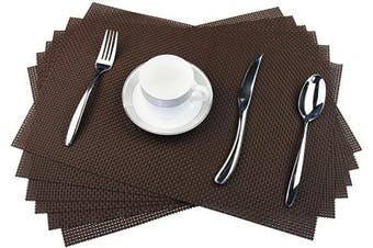 (C: Brown, Set of 4) - pigchcy Placemats Classical Design Kitchen Placemat Washable Heat-Insulation Table Mat PVC Placemats for Dining Table Set of 6 (Brown)