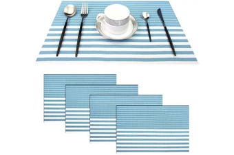 (Set of 4, Stripe: Light Blue) - pigchcy Light Blue and White Placemats Set of 4 Vinyl Woven Heat-Resistant Placemat Washable Easy to Clean Table Mats for Dining Room (46cm x 30cm )