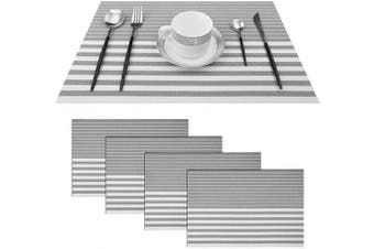 (Set of 4, Stripe: Grey) - pigchcy Grey and White Placemats Set of 4 Vinyl Woven Heat-Resistant Placemat Washable Easy to Clean Table Mats for Dining Room (46cm x 30cm )