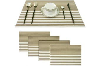 (Set of 4, Stripe: Beige) - pigchcy Beige and White Placemats Set of 4 Vinyl Woven Heat-Resistant Placemat Washable Easy to Clean Table Mats for Dining Room (46cm x 30cm )