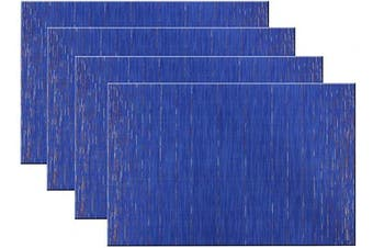 (Set of 4, B: Blue) - pigchcy Placemats Modern Design Kitchen Placemat Washable Heat-Insulation Table Mat PVC Placemats for Dining Table Set of 4 (Mix Deep Blue)