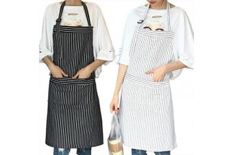 (Black & White Strips) - AARainbow 1 Pack Cotton Adjustable Cooking Apron Easy to Use Chef Kitchen Smock Nail Bib Unisex Server Apron with 2 Pockets for Women Kids Teen Girls Kids Men 26.8,70cm (Black & White Strips)