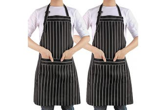 (B-2black Strips) - AARainbow 1 Pack Cotton Adjustable Cooking Apron Easy to Use Chef Kitchen Smock Nail Bib Unisex Server Apron with 2 Pockets for Women Kids Teen Girls Kids Men 26.8,70cm (B-2Black Strips)