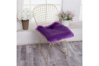 (Square, Purple) - Jinzio Faux Sheepskin Chair Pad Squre Cover Seat Cushion Pad Soft Fluffy Area Rug for Chair Seat Pad Couch Pad Dresser Pad Shopwindow Carpet Area Natural Rugs, 46cm x 46cm , Purple
