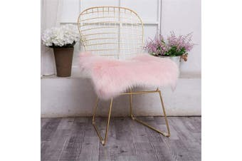 (Square, Pink) - Jinzio Faux Sheepskin Chair Pad Squre Cover Seat Cushion Pad Soft Fluffy Area Rug for Chair Seat Pad Couch Pad Dresser Pad Shopwindow Carpet Area Natural Rugs, 46cm x 46cm , Pink