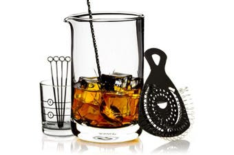 (Black) - Cork & Mill Cocktail Mixing Glass Set - Old Fashioned Kit - 24 oz (700 ml) Crystal Stirring Glass for Bartending - 9-Piece Bar Accessories and Tools Set with Strainer, Spoon, Jigger, Picks (Black)