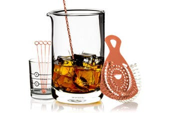 (Copper) - Cork & Mill Cocktail Mixing Glass Set - Old Fashioned Kit - 24 oz (700 ml) Crystal Stirring Glass for Bartending - 9-Piece Bar Accessories and Tools Set with Strainer, Spoon, Jigger, Picks (Copper)
