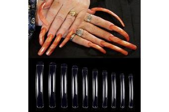 (Clear) - Arofaue 100Pcs Salon Nail Tips,Curve Extra Long False Nail Tips 10 Sizes Fake Nails Tips for Nail Teaching Practise,Performances & Dance (Clear)