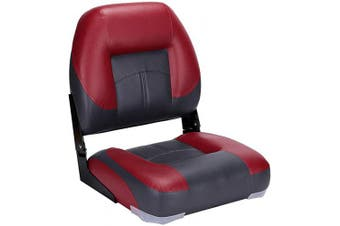 (5-Charocoal/Red) - North Captain T1 Deluxe Low Back Folding Boat Seat