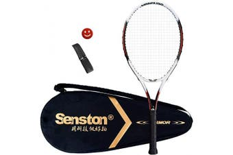 (Black) - Senston Tennis Racket 70cm for Adults with Premium Carry Case Tennis Racquet Set, Including 1 Overgrip + 1 Vibration Dampeners