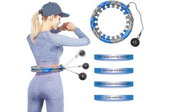 (Blue) - YouTen 2020 New Version Weighted Hula Hoop- Hoola Hoop for Adults and Kids, Smart Hula Hoop with 360 Degree Massage and 24 Detachable Sections
