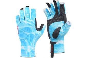 (S/M, Blue) - BEACE Fishing Gloves,Fishing Fingerless Gloves for Men & Women,UV Protection Gloves,UPF50+ Sun Protection Gloves for Outdoor,Kayaking,Rowing,Canoeing,Paddling