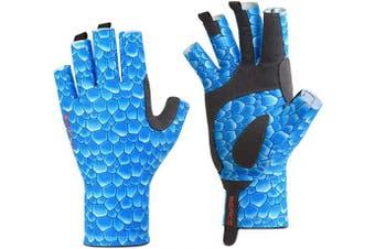 (S/M, Fish Scale) - BEACE Fishing Gloves,Fishing Fingerless Gloves for Men & Women,UV Protection Gloves,UPF50+ Sun Protection Gloves for Outdoor,Kayaking,Rowing,Canoeing,Paddling