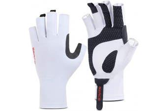 (S/M, White) - BEACE Fishing Gloves,Fishing Fingerless Gloves for Men & Women,UV Protection Gloves,UPF50+ Sun Protection Gloves for Outdoor,Kayaking,Rowing,Canoeing,Paddling