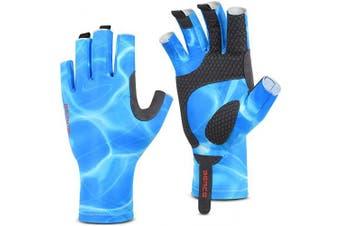 (L-XL, Dark Blue) - BEACE Fishing Gloves,Fishing Fingerless Gloves for Men & Women,UV Protection Gloves,UPF50+ Sun Protection Gloves for Outdoor,Kayaking,Rowing,Canoeing,Paddling