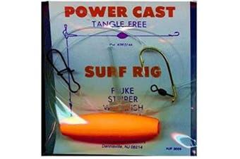 Aqua Clear SR-1 Surf Rig, Neon Orange and White Tail Finish