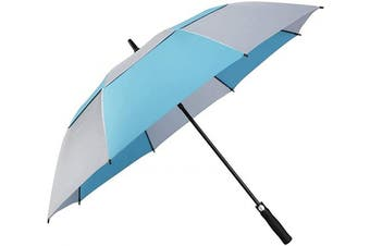 (160cm , Blue/Silver Coating) - G4Free 54/2.3cm Extra Large Windproof Golf Umbrella UV Protection Automatic Open Double Canopy Vented Sun Rain Umbrella Oversize Stick Umbrellas